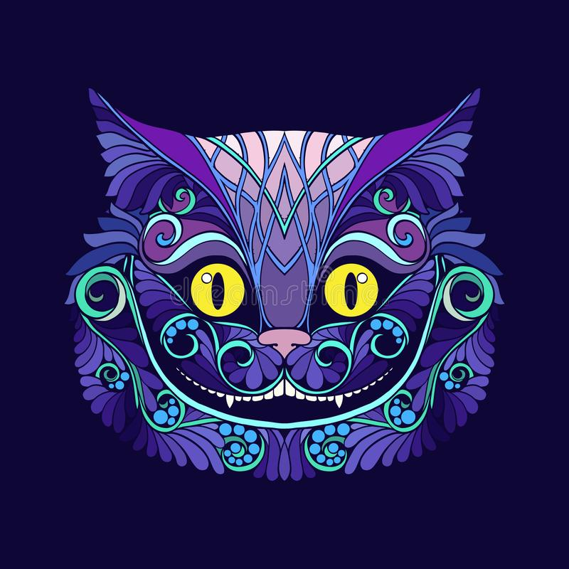 Applique with the head of the Cheshire cat from the fairy tale. Alice in Wonderland with a decorative pattern. Stock line vector illustration royalty free illustration