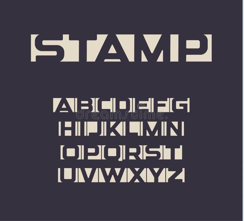 Applique stilsorten, negativa utrymmebokstäver ställer in, det ovanliga uppercase djärva alfabetet för nyheternamatning och tidni vektor illustrationer