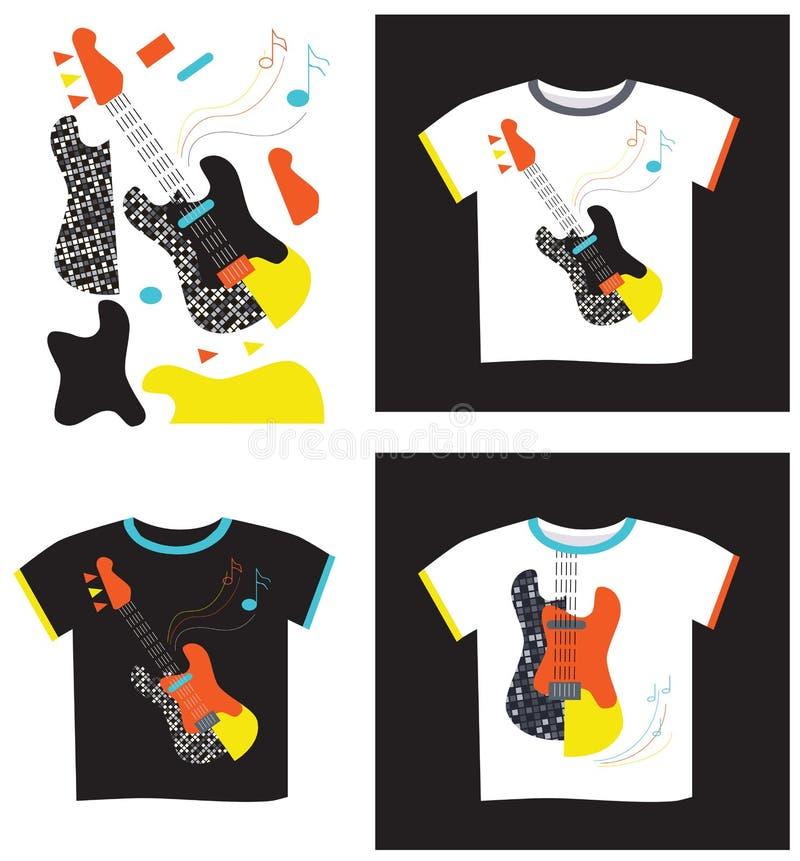 Applique on T-shirt electric guitar. Applique on a black and white T-shirt electric guitar and in parts stock illustration