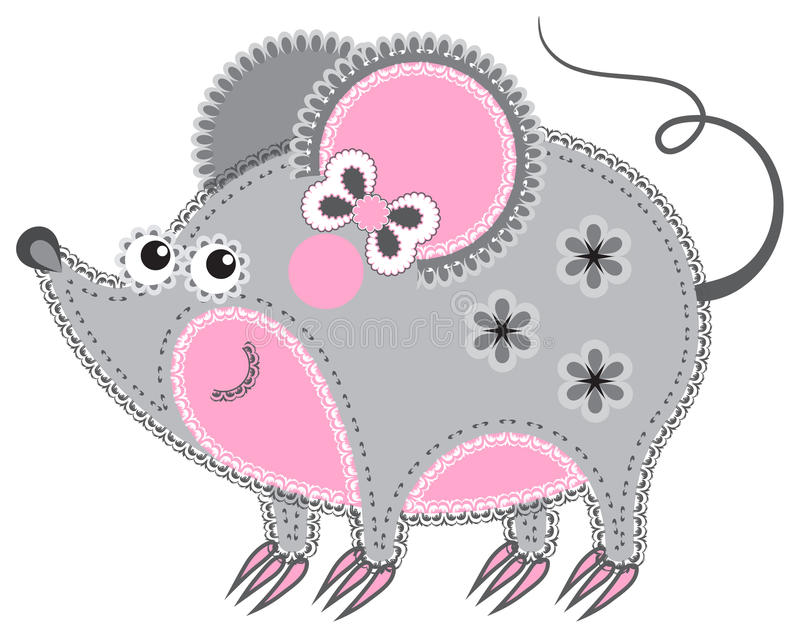 Applique' work in the form of mouse from a fabric stock illustration