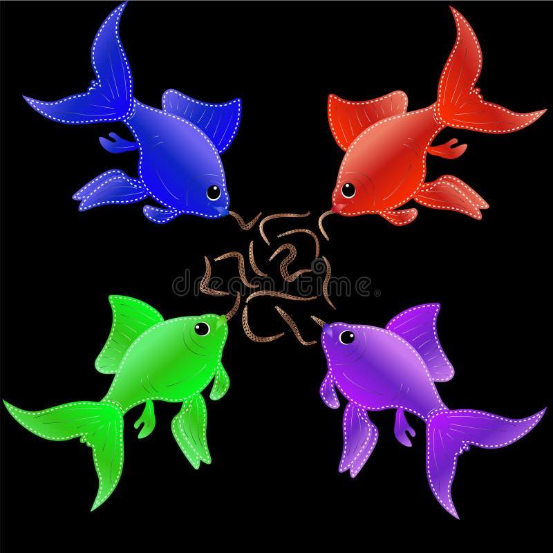 Appliquen från frågastycken i form av mång--färgade små fiskar, äta avmaskar vektor illustrationer