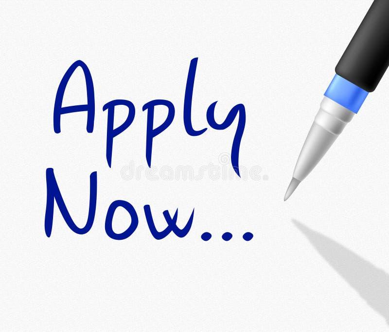 Appliquez indique maintenant l'application et la profession de recrutement illustration de vecteur