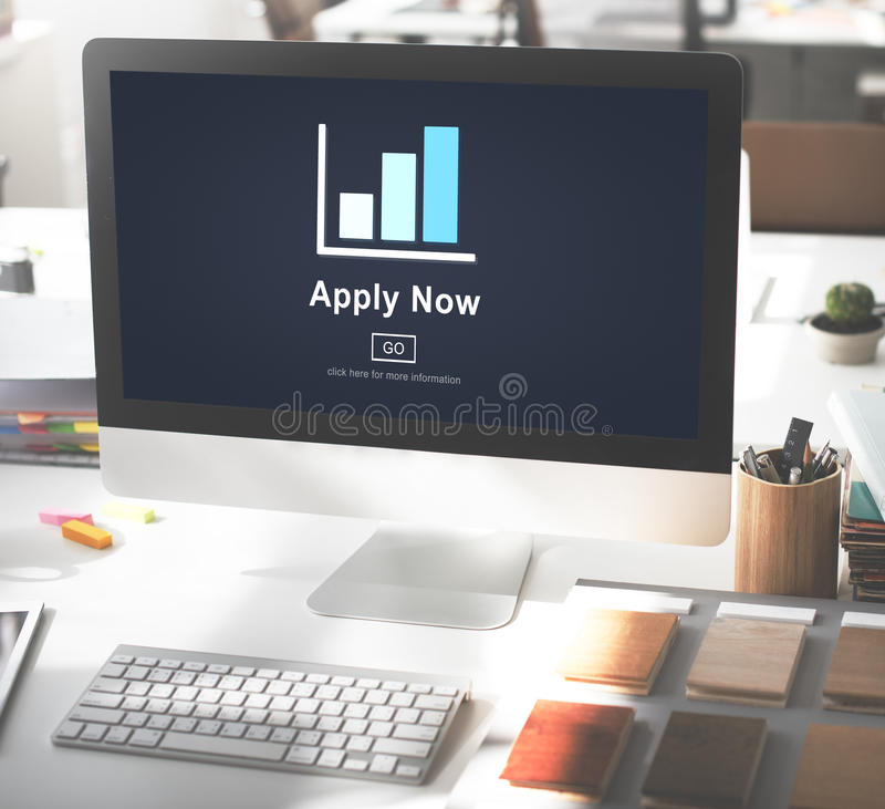 Appliquez maintenant le recrutement engageant Job Employment Concept photographie stock
