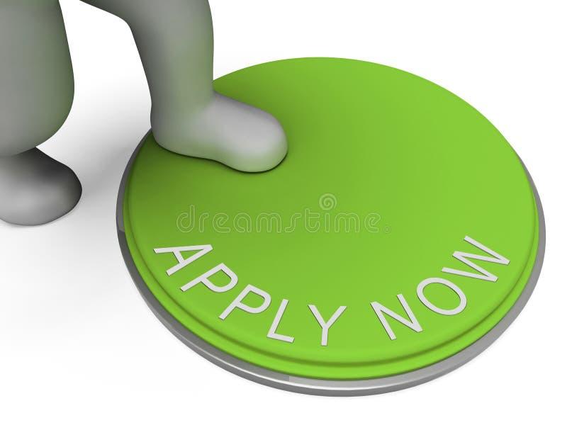 Appliquez maintenant les expositions de bouton recrutant pour l'emploi illustration stock