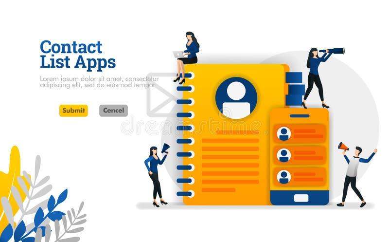 Applis de liste de contact pour le mobile et les rappels équipé des livres et des smartphones dirigez le concept d'illustration p illustration stock