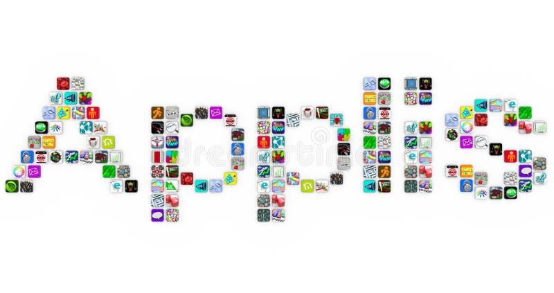 Applis - palabra de los iconos de la aplicación en azulejos del App libre illustration