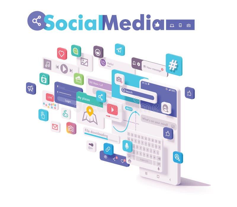 Applis sociaux mobiles de médias de vecteur illustration de vecteur