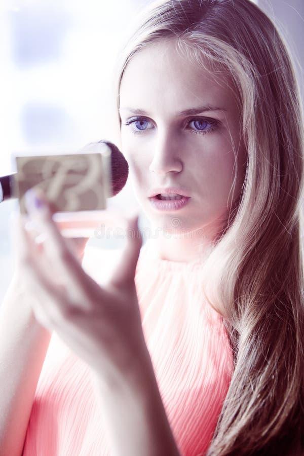 Download Apply blush stock image. Image of window, hair, mirror - 25311485