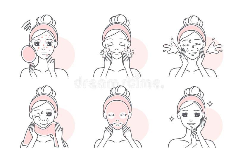 Apply mask to treat acne stock illustration