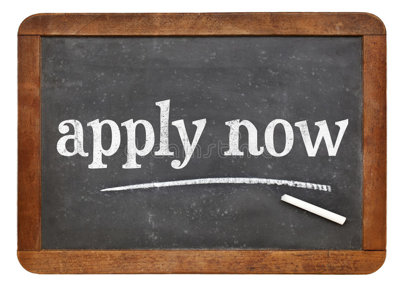 Apply now blackboard sign stock images