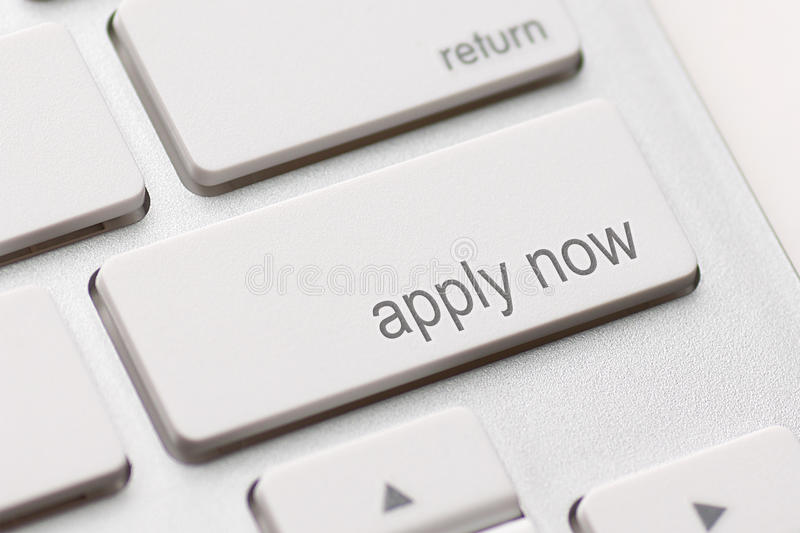 Apply Now Computer Key stock photography