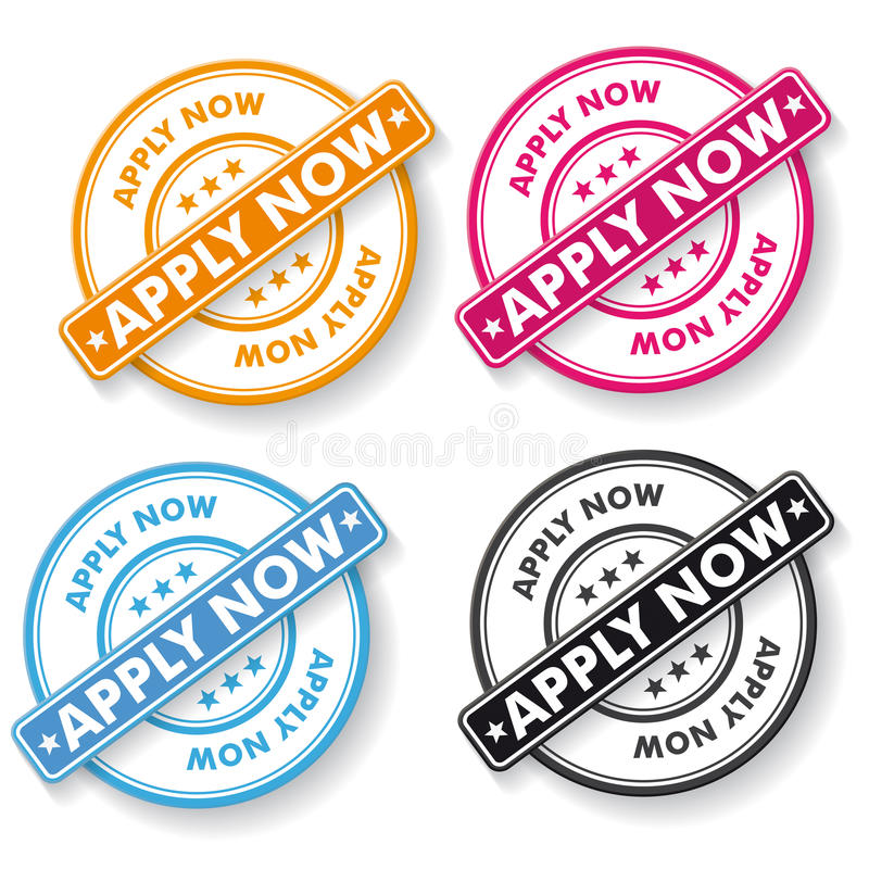 Apply Now Papper labels stock illustration