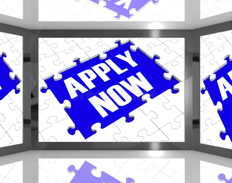 Apply Now On Screen Showing Job Recruitment stock illustration