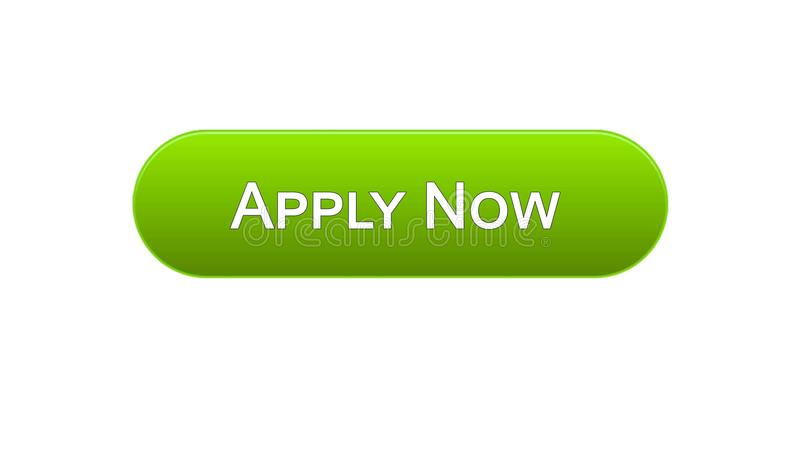 Apply now web interface button green color, online education program, vacancy. Stock footage royalty free illustration