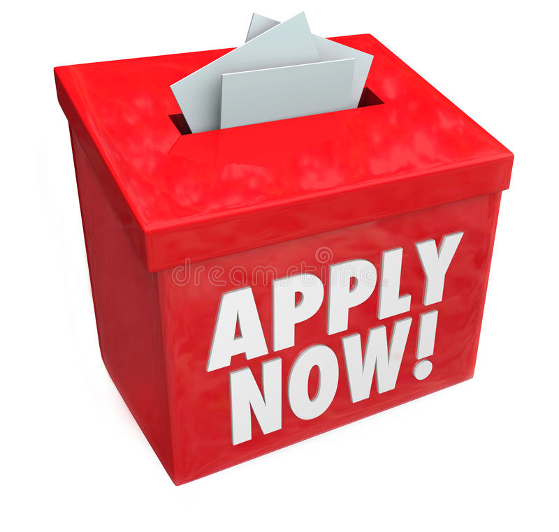 Apply Now Words Submission Box Application Job Loan stock illustration