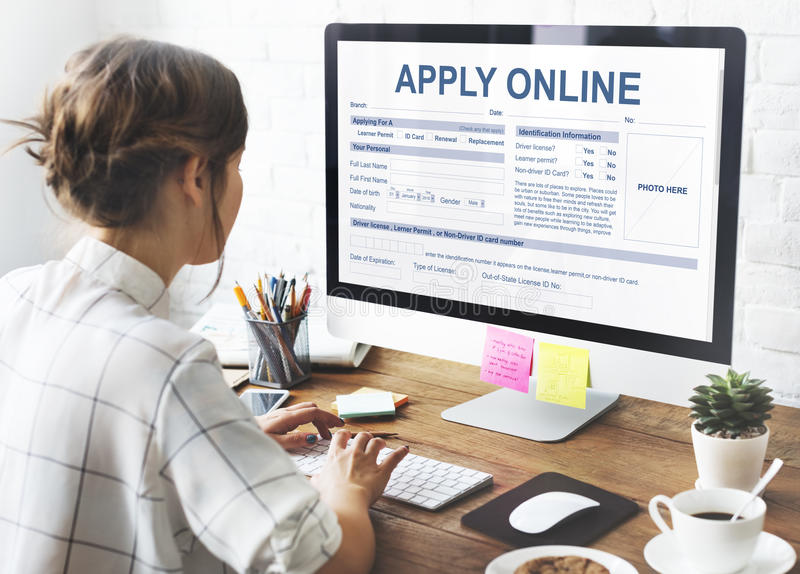 Apply Online Application Form Recruitment Concept royalty free stock photography