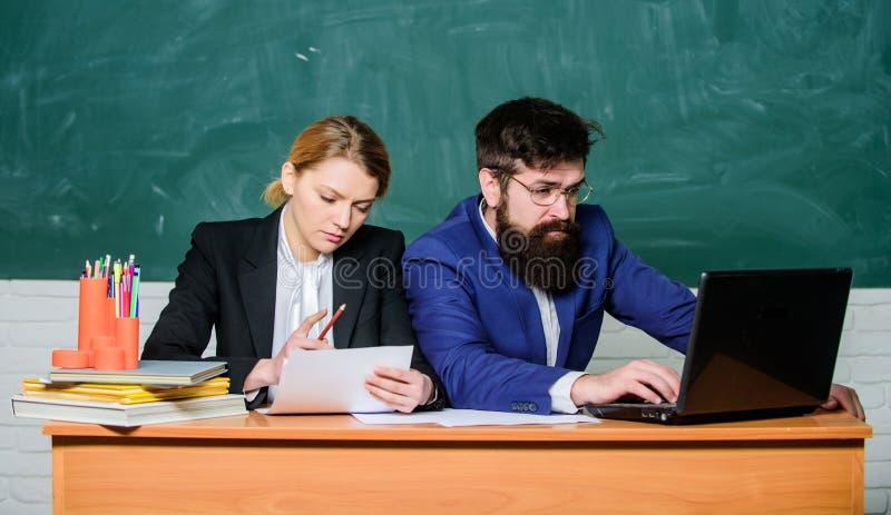 Apply to enter high school. Selection committee concept. Teacher principal decide who will enter private school. Private. Elite school. Interviewing enrollee stock photos