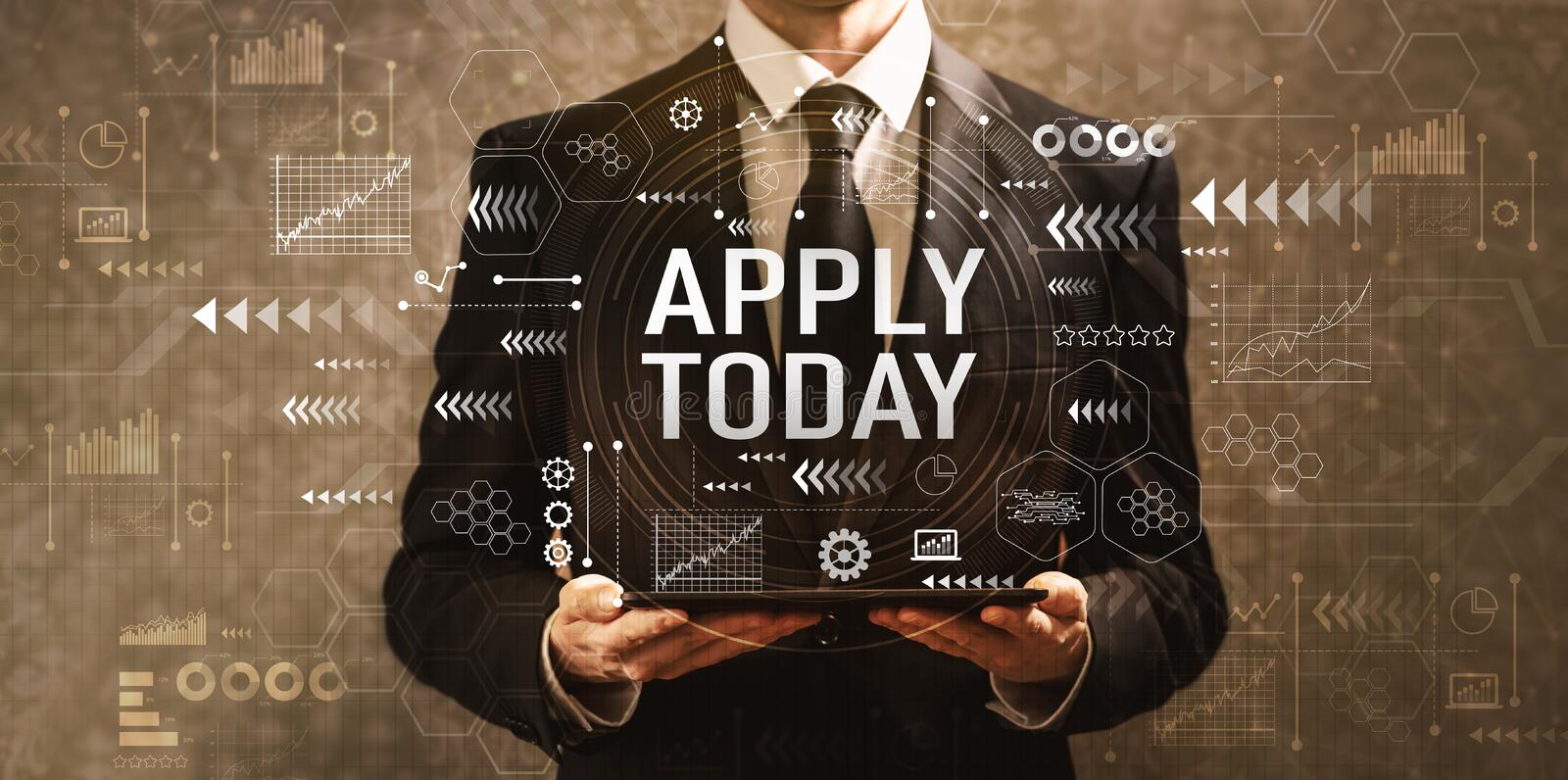 Apply today with businessman holding a tablet computer royalty free stock image