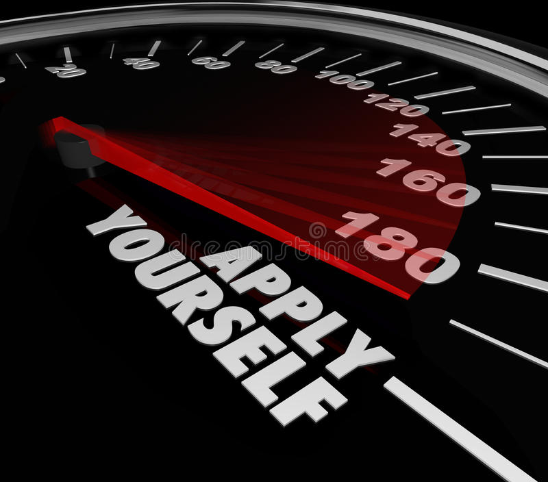 Apply Yourself Speedometer Gauge Success Try Effort Potental. Apply Yourself words on a speedometer or gauge to measure the success level, outcome, results of royalty free illustration