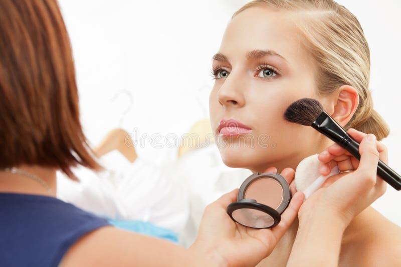 Applying Blush On Cheeks With Blush Brush Stock Photos