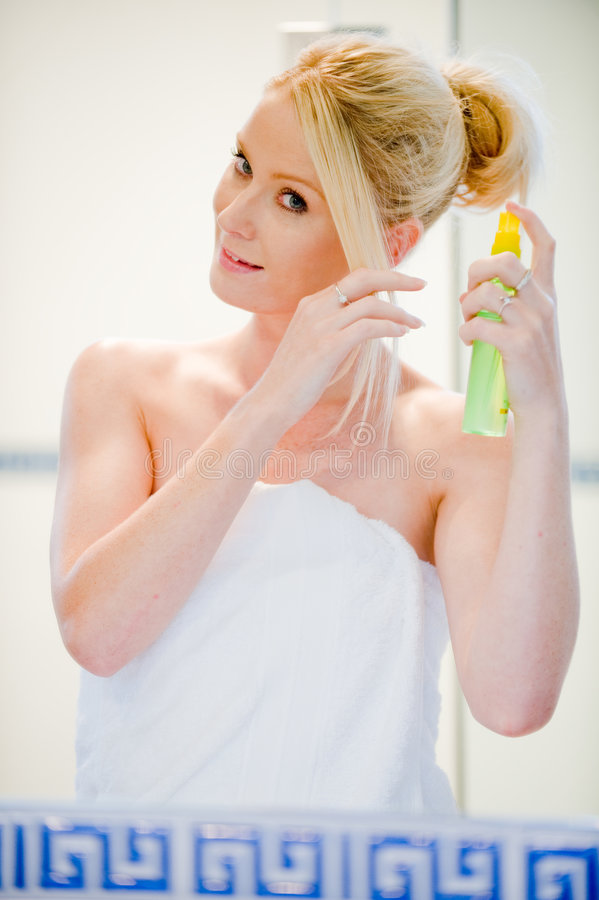 Download Applying Hairspray stock image. Image of caucasian, smiling - 7358717
