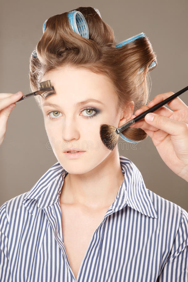 Download Applying make-up stock photo. Image of caucasian, curlers - 28802818