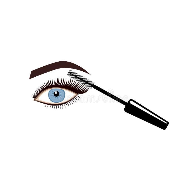 Applying mascara on eyelashes. Vector illustration vector illustration