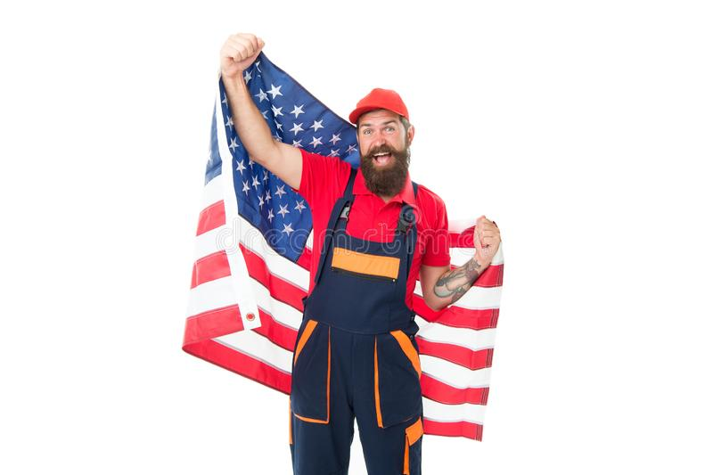 Applying for work visa USA. Man bearded laborer hold american flag. Repair and renovation. Repair tips. Guy worker in stock photography