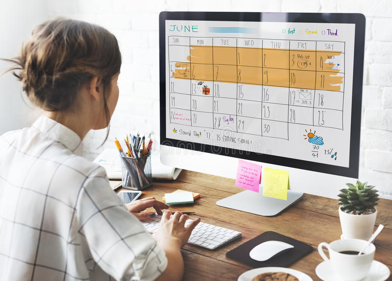 Appoinement-Tagesordnungs-Kalender-Sitzungs-Anzeigen-Konzept lizenzfreie stockfotos