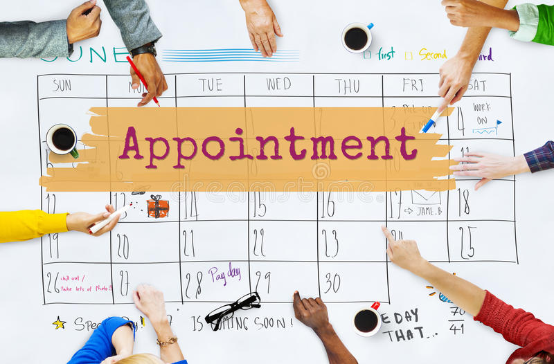 Appointment Agenda Calendar Meeting Reminder Concept. People Discussing Appointment Agenda Calendar Meeting stock photography