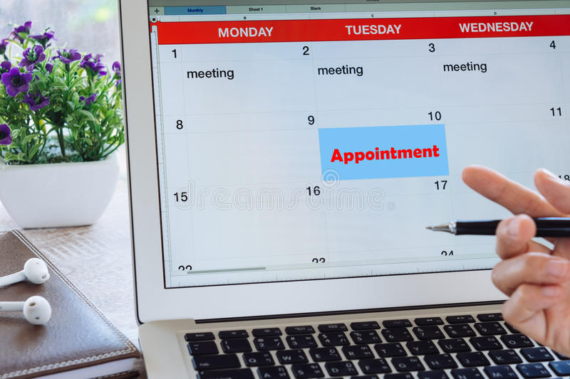 Appointment concept, Schedule Planning laptop royalty free stock images