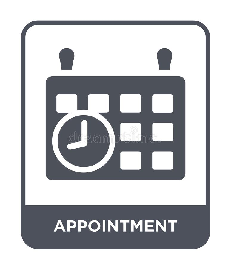 Appointment icon in trendy design style. appointment icon isolated on white background. appointment vector icon simple and modern. Flat symbol for web site stock illustration