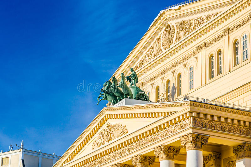 Appolo chariot of Moscow Bolshoi theater. Architectural details and elements of buildings. Views of buildings and structures, cityscapes stock photos