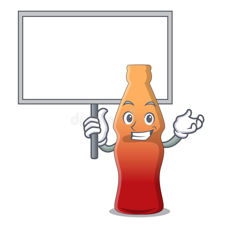 Apportez la bande dessinée de caractère de sucrerie de gelée de bouteille de kola de conseil illustration stock