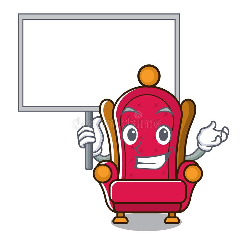 Apportez la bande dessinée de caractère de trône de roi de conseil illustration de vecteur