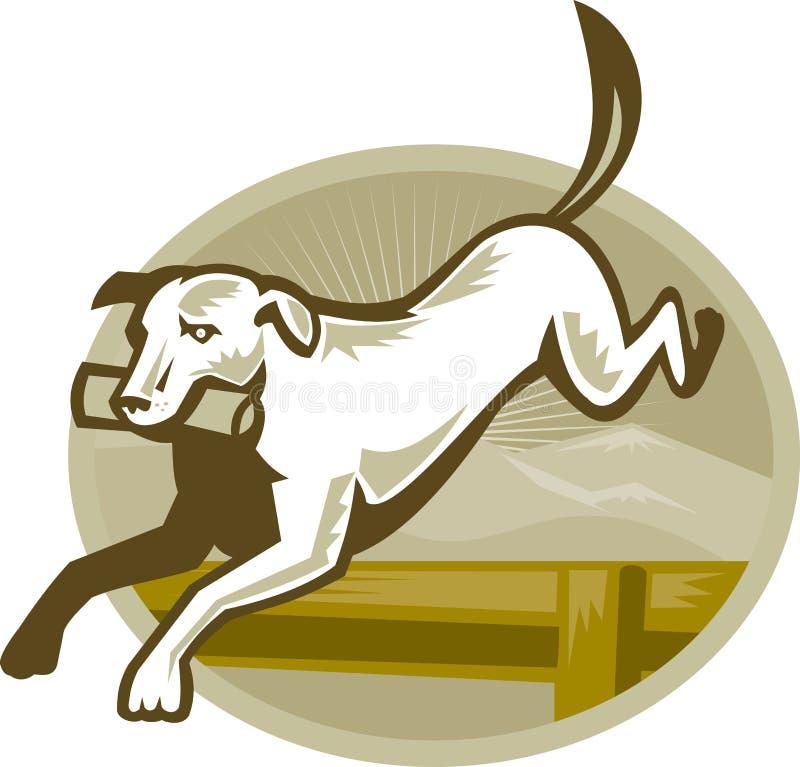 Apportierhund-Hundetrainings-springende Hürde Retro- lizenzfreie abbildung