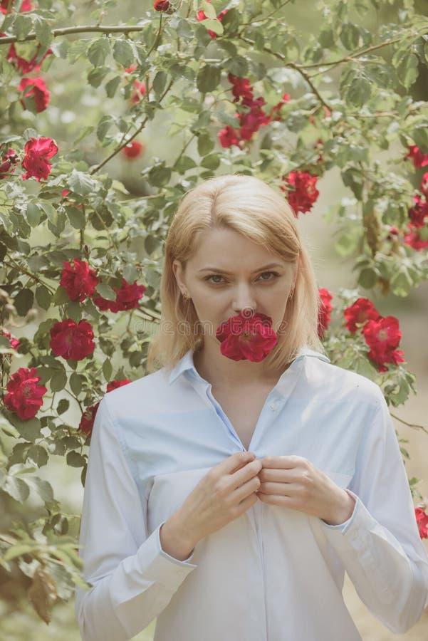 Apprécier les roses jusqu'à ce qu'elles s'épanouissent Fleur de fleur d'été Fille sexy avec les fleurs rouges dans le jardin d'ét photos libres de droits