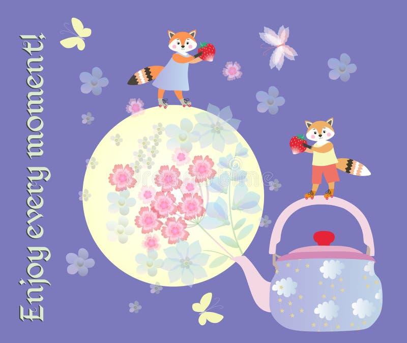 Appréciez chaque moment Belle affiche de motivation avec de petits renards, théière, lune et bouquet mignons des fleurs illustration stock