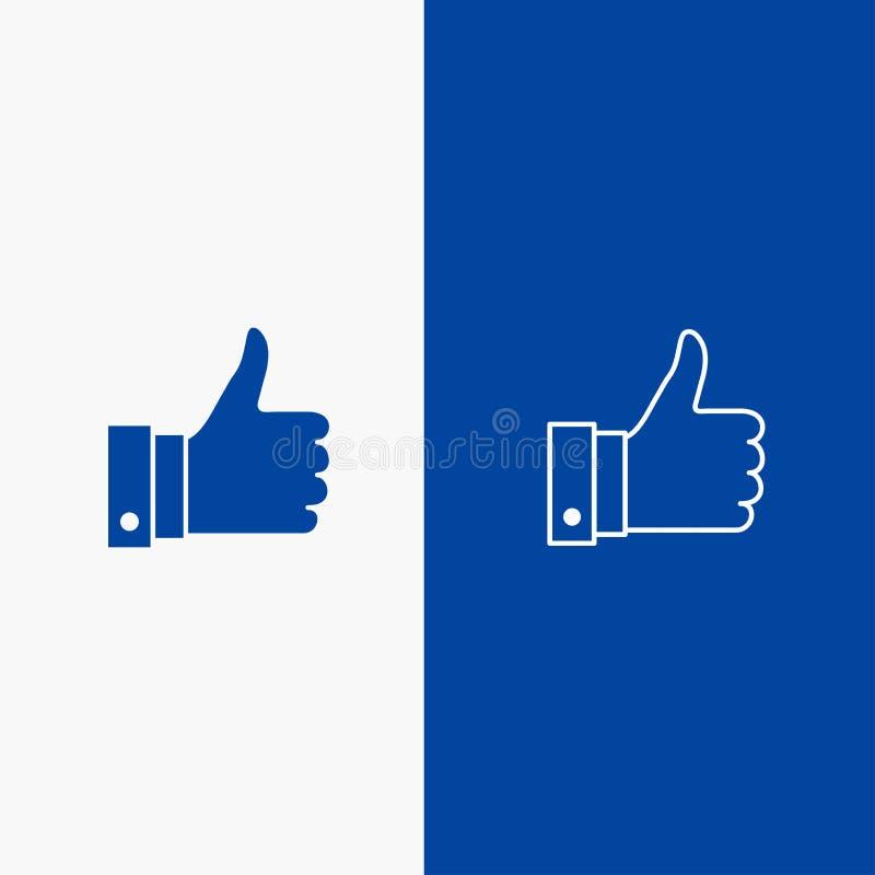 Appréciez, des remarques, bonnes, bannière bleue de bannière comme de ligne et de Glyph icône solide d'icône solide bleue de lign illustration stock