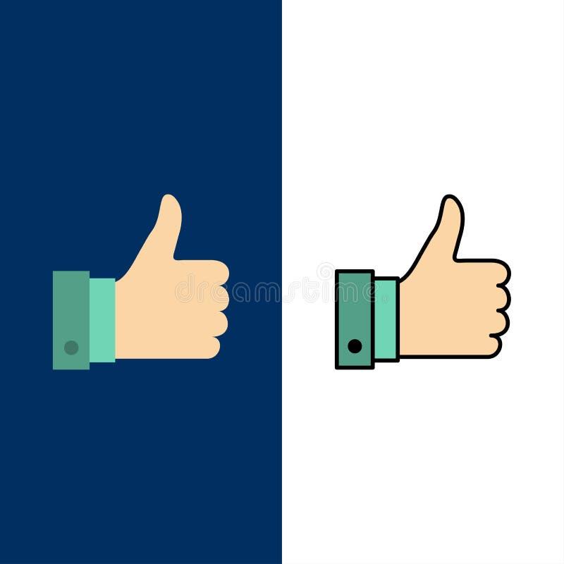 Appréciez, des remarques, bonnes, comme des icônes L'appartement et la ligne icône remplie ont placé le fond bleu de vecteur illustration de vecteur