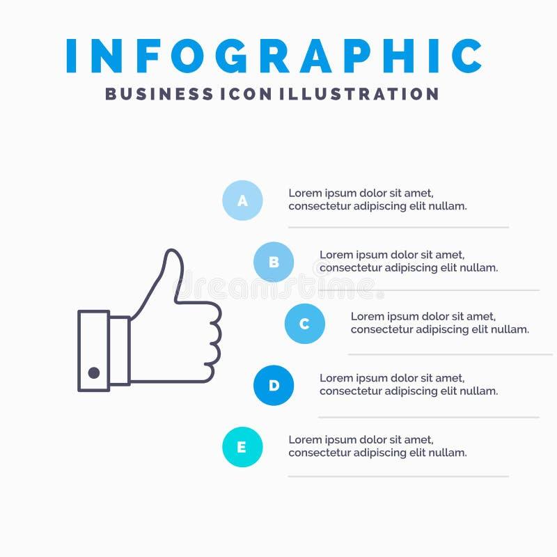 Appréciez, des remarques, bonnes, comme la ligne icône avec le fond d'infographics de présentation de 5 étapes illustration de vecteur