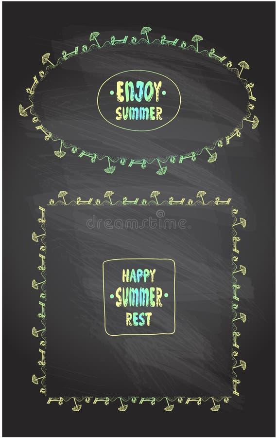 Appréciez l'été, le repos heureux d'été, cartes de lettrage de citation sur un tableau illustration libre de droits