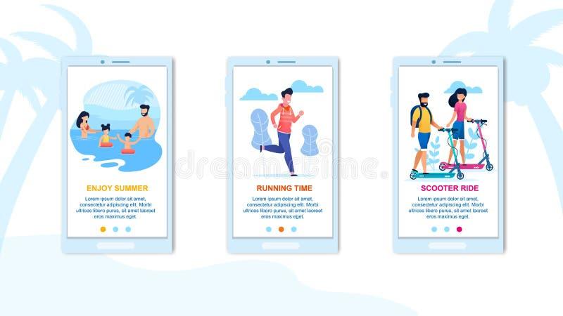 Appréciez l'ensemble mobile de page d'atterrissage d'application d'été illustration libre de droits