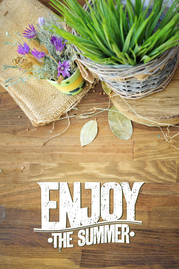 Appréciez la carte de citation d'été avec des fleurs de pré photo stock