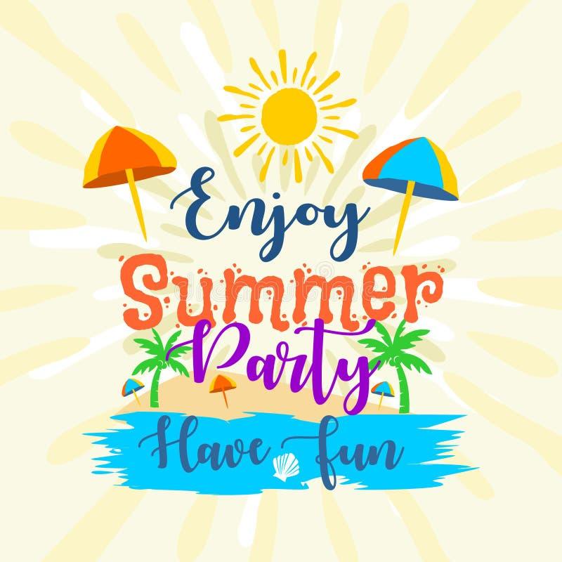 Appréciez la partie d'été ont des labels d'amusement illustration de vecteur