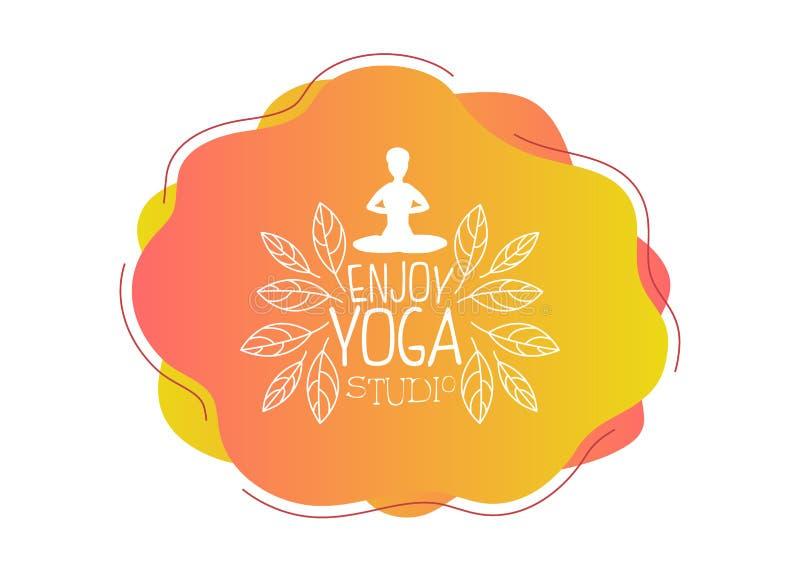 Appréciez le calibre de studio de yoga, élément de conception peut être employé pour le logo, carte de visite professionnelle de  illustration libre de droits
