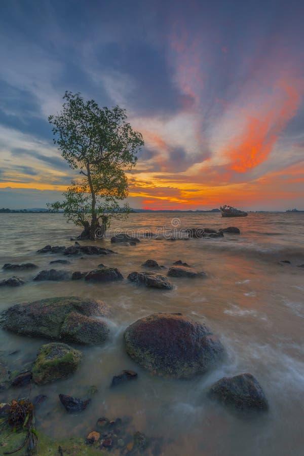 Appréciez le coucher du soleil sur la plage photo stock