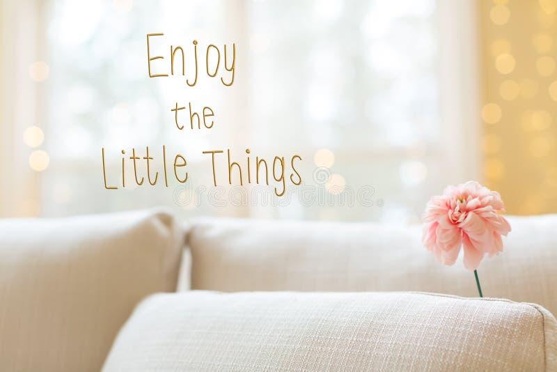 Appréciez le petit message de choses avec la fleur dans le sof intérieur de chambre photo libre de droits