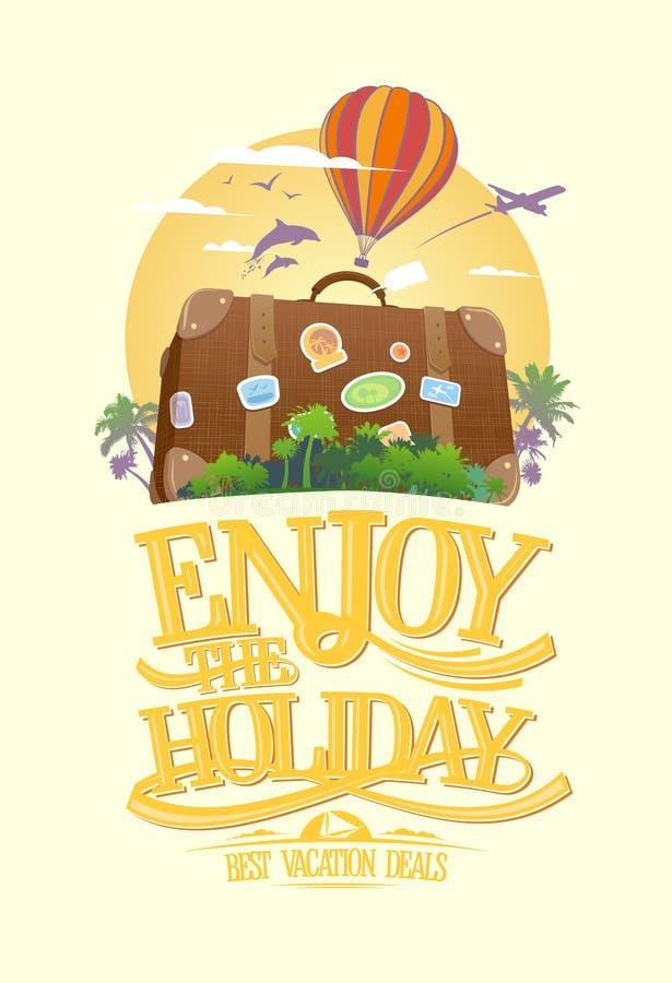 Appréciez les vacances, concept de construction de voyage avec la valise sur une île tropicale illustration stock