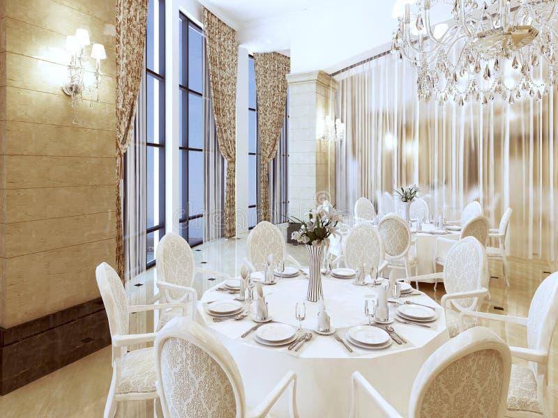 Appréciez une table blanche luxueuse de restaurant illustration libre de droits